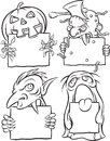 Whiteboard drawing - Halloween monsters Royalty Free Stock Photo
