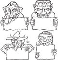 Whiteboard drawing - Halloween monsters and vampires Royalty Free Stock Photo