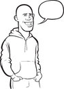 Whiteboard drawing - standing smiling bald young man Royalty Free Stock Photo