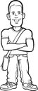 Whiteboard drawing - standing young man with arms crossed Royalty Free Stock Photo