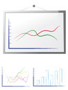 Whiteboard with graphs Royalty Free Stock Photos