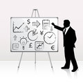 Whiteboard presentation vector illustration of with businessman Royalty Free Stock Image