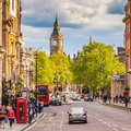 Whitehall street in london may with big ben the background on may the has a total distance of about km Stock Image