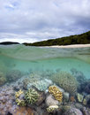 Whitehaven beach and living coral reef a split under over photograph of reefs surround most islands in the whitsundays Stock Image