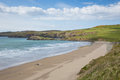 Whitesands bay beach by st davids pembrokeshire west wales uk brides in the coast national park the coast path passes Stock Photo