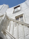 Whitewash architectural aspect of a typical whitewashed traditional building in mykonos town Stock Images