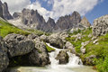 Whitewater creek in Vallon Popera, with Croda Rossa in backgroun Royalty Free Stock Photo
