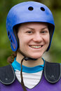 Whitewater rafter portrait adult woman wearing typical water sport outfit Stock Images