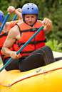 Whitewater river rafting training group of young athletes for Royalty Free Stock Image