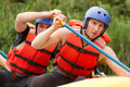 Whitewater river rafting training group of young athletes for Stock Image