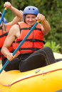 Whitewater river rafting training group of young athletes for Royalty Free Stock Images