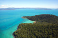 Whitsunday island aerial landscape over a in queensland australia Royalty Free Stock Images
