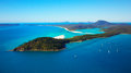 Whitsunday island an aerial view of famous whitehaven beach and islands positioned in the the great barrier reef queensland Stock Photo