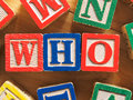 Who question from toy blocks Royalty Free Stock Images
