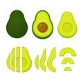 Whole and cut avocado