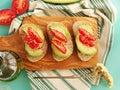 Whole grain bread with avocado Royalty Free Stock Photo