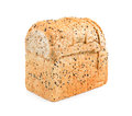 Whole grain bread isolated on white background, bread with seeds Royalty Free Stock Photo
