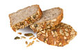 Whole grain bread slices on white background Royalty Free Stock Images