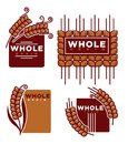 Whole grain product  emblems set with ripe spikes Royalty Free Stock Photo