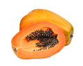 Whole and half fresh ripe papaya isolated on white Royalty Free Stock Photo