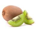 Whole kiwi fruit and his segments isolated on white background cutout Royalty Free Stock Photo
