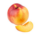 Whole nectarine and segment isolated on white background Royalty Free Stock Photo
