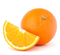Whole orange fruit and his segment or cantle isolated on white background cutout Stock Image