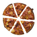 Whole of pizza isolated over white background Royalty Free Stock Photo