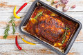 Whole roast shoulder of pulled pork in roasting pan Royalty Free Stock Photo