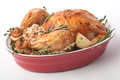 Whole Roast Turkey in a Red Dish