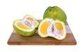 Whole sliced uniq fruit cutting board Stock Photo