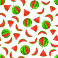 Whole and sliced watermelon seamless pattern Stock Photos