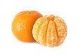 Whole tangerine fruits and peeled segments isolated Royalty Free Stock Photo