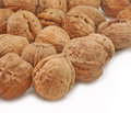 Whole walnut close up pile of walnuts scattered on white background Stock Image