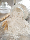 Whole wheat flour vintage bank with selective focus Stock Photos
