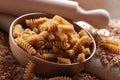 Whole wheat fusilli pasta Royalty Free Stock Photo