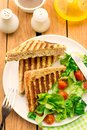 Whole wheat sandwiches stuffed with cheese and parsley Royalty Free Stock Photo