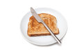 Whole Wheat Toast, Knife and Plate Stock Photo
