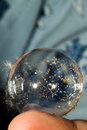 The whole world, in one small soap bubble. Royalty Free Stock Photo