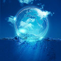 Whole world into the water bubble Royalty Free Stock Photo