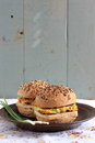 Wholegrain burgers with tofu and vegetables Stock Photos