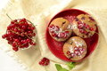 Wholegrain muffins with red currants top view Royalty Free Stock Photo