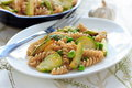 Wholegrain pasta with green beans, zucchini and Brussels sprouts Royalty Free Stock Photo