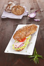 Wholegrain sandwich with ham. Royalty Free Stock Photography
