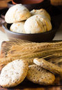 Wholemeal bread whish flax linen seeds and wheat spike Royalty Free Stock Photo