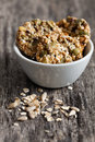 Wholemeal cookies in a bowl with oats Stock Photo