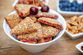 Wholemeal cookies fruit cookies in white bowl Stock Photos