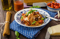 Wholemeal pasta with roasted tomato and garlic homemade salsa Stock Photos