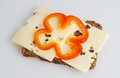 Wholemeal rye bread with cheese and bellpeppers Royalty Free Stock Photos