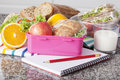 Wholesome lunch close up of lunchbox with food for breakfast Royalty Free Stock Photos